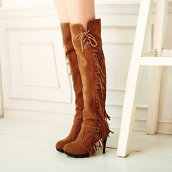 Shoespie Tassel Knee High Boots