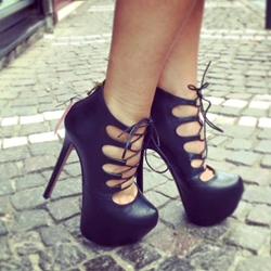 Shoespie Genuine Leather Lace up Platform Heels