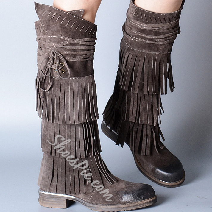 Shoespie Vintage Tassel Flat Knee High Boots
