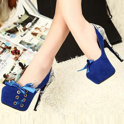 Sweet Matching Color Snakeskin Platform Heels with Bowtie
