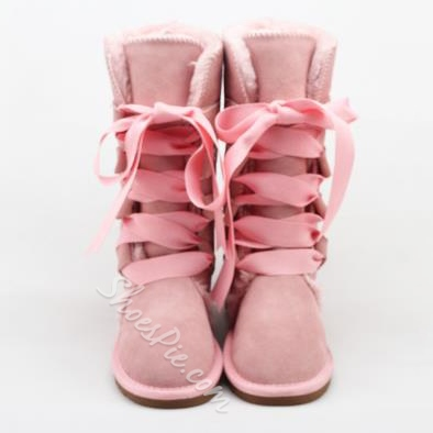 Shoespie Lace up Mid calf Snow Boots