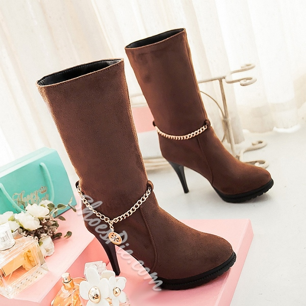 Shoespie Nubuck Chains Knee High Boots