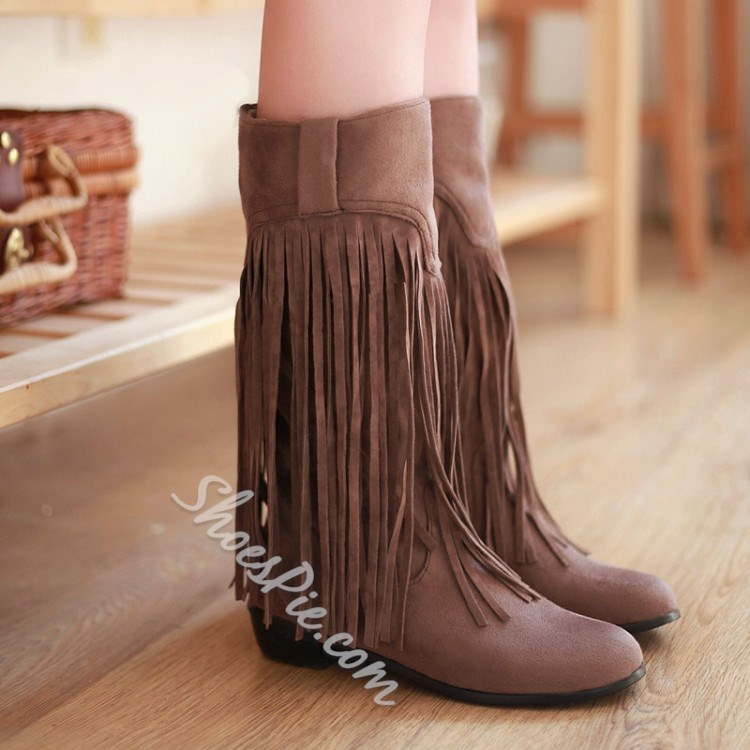 Shoespie Solid Color Tassels Decoration Low Heel Boots