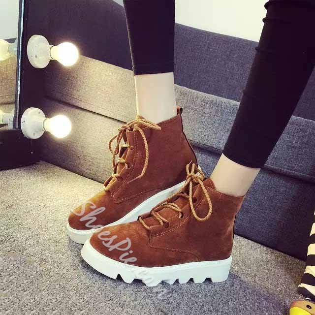 Shoespie Suede Lace up Flat Boots