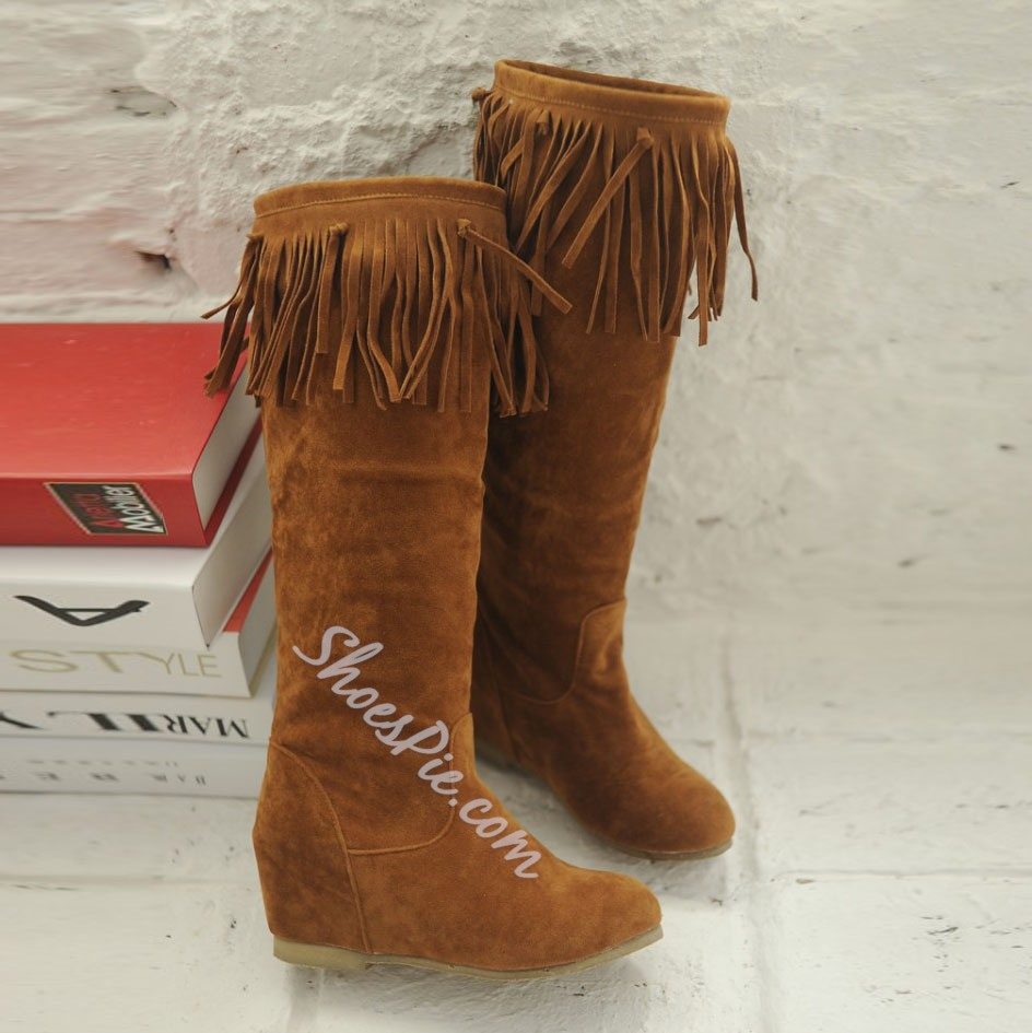 Shoespie Tassels Round Toe Knee High Boots