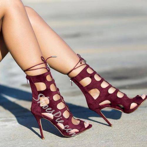 Shoespie Burgundy Cut Out Lace Up Dress Sandals