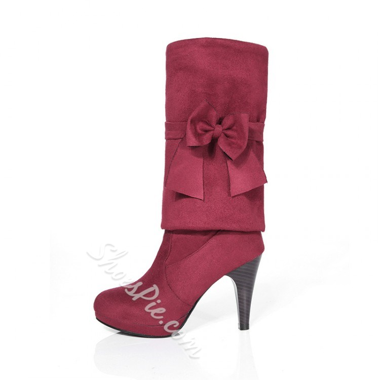 Shoespie Suede Bowtie Knee High Boots