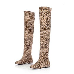 Shoespie Leopard Print Thigh High Boots