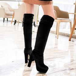 Shoespie Solid Color Soft Suede Platform Over Knee High Boots