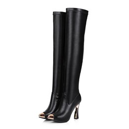 Shoespie Metal Decoration Thigh High Boots