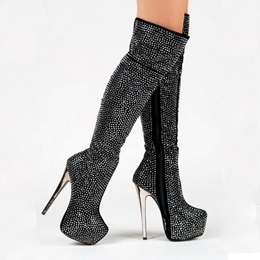 Shoespie Luxurious Sequined Side Zipper Platform Stiletto Heel Over Knee Boots
