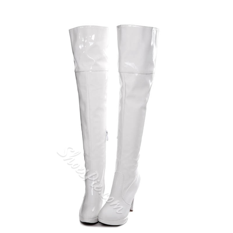 Shoespie Bright Color PU Platform Knee High Boots