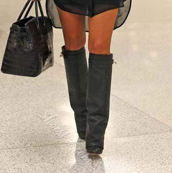 Shoespie Chic Black PU Buckle Decoration Knee High Boots