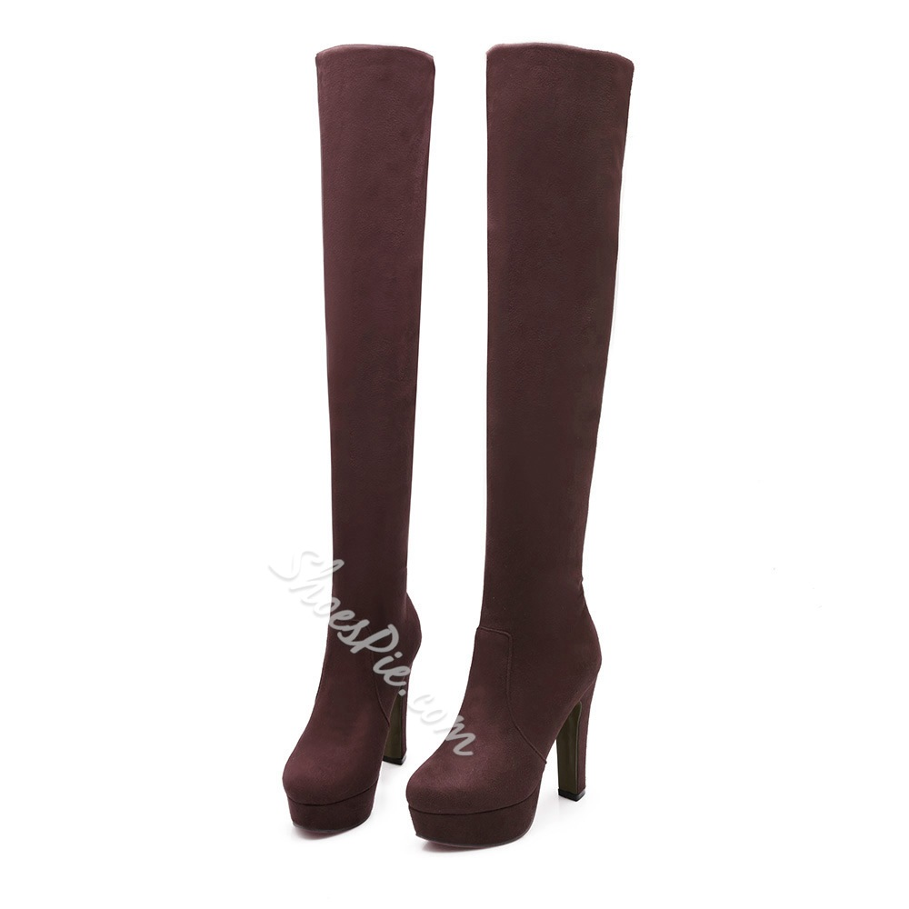 Shoespie Elegant Solid Color Platform Thigh High Boots