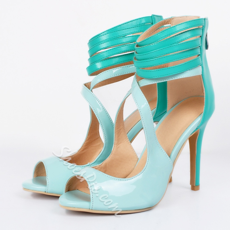 Shoespie Light Green Pee Toe Ankle Wrap Stiletto Heels