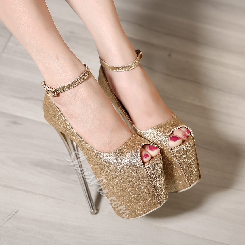 Shoespie Sequined Anle Wrap Platform Heels