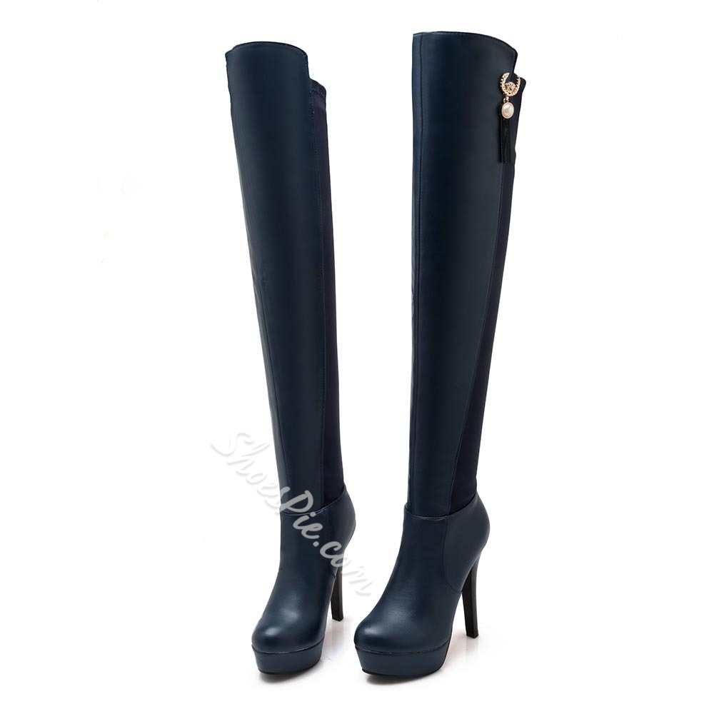 Shoespie Materials Contrast Thigh High Boots