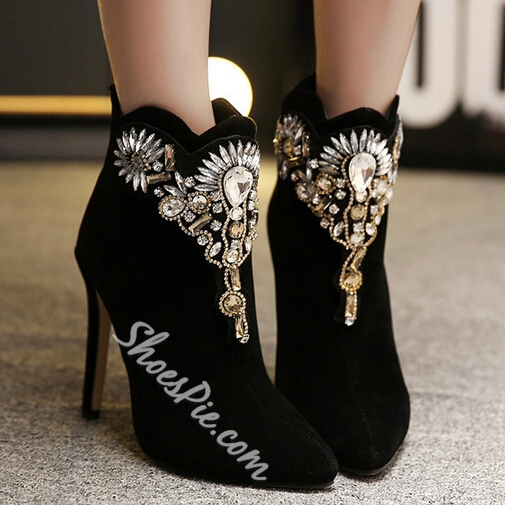 Shoespie Chic Black Rhinestone Decoration Back Zipper Ankle Boots