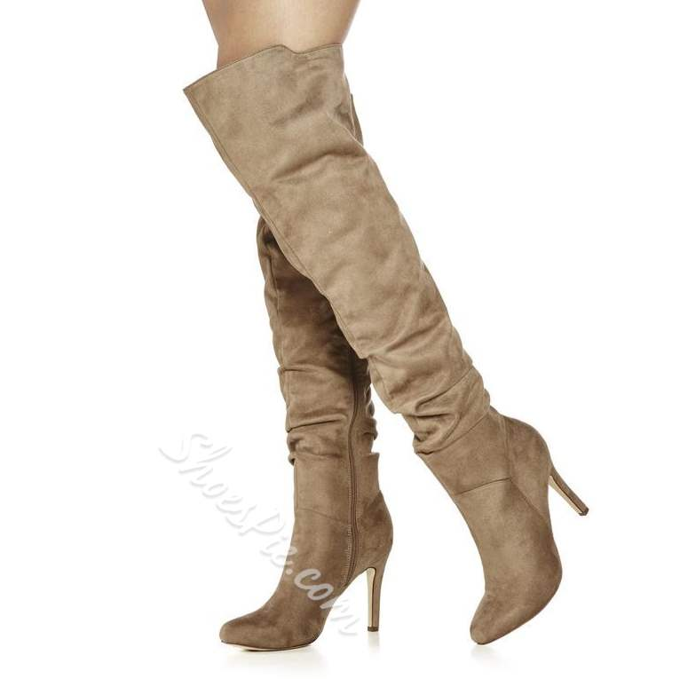 Shoespie Side Zipper Thigh High Boots