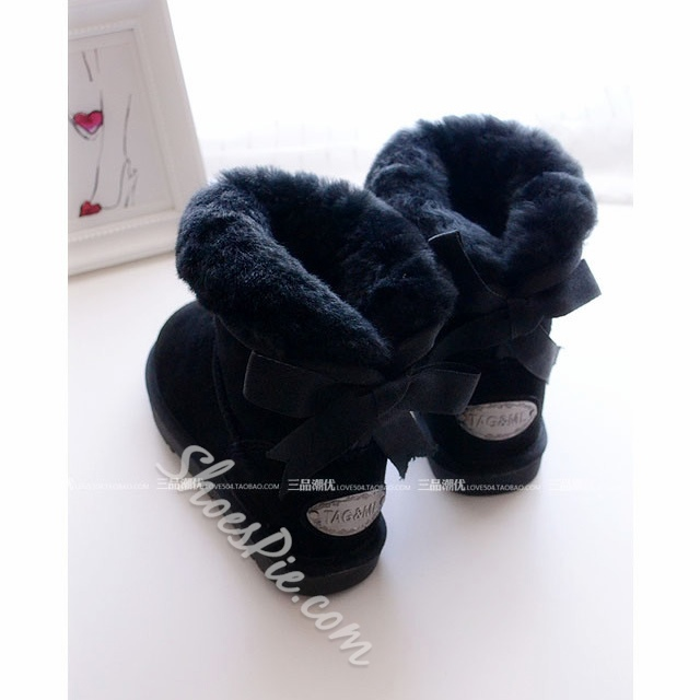 Shoespie Bowtie Plush Snow Boots