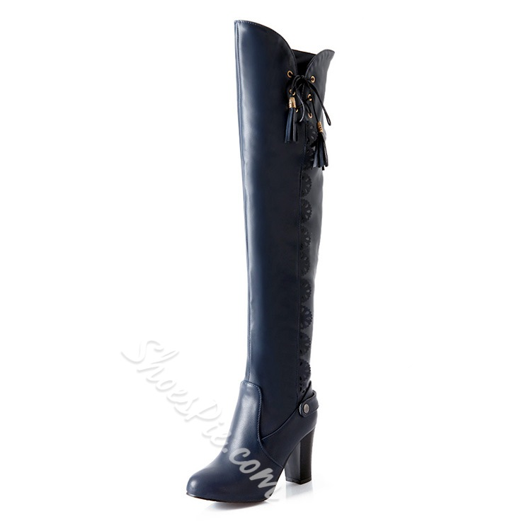 Shoespie Lace up Thigh High Boots