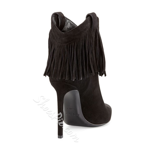 Shoespie Chic Black Suede Tassels Decoration Pointed Toe Stiletto Heel Ankle Boots