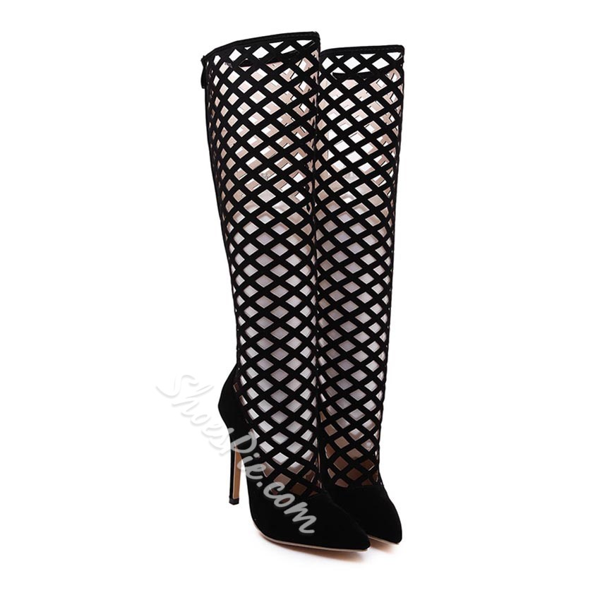 Shoespie Sexy Black Cutout Knee High Boots