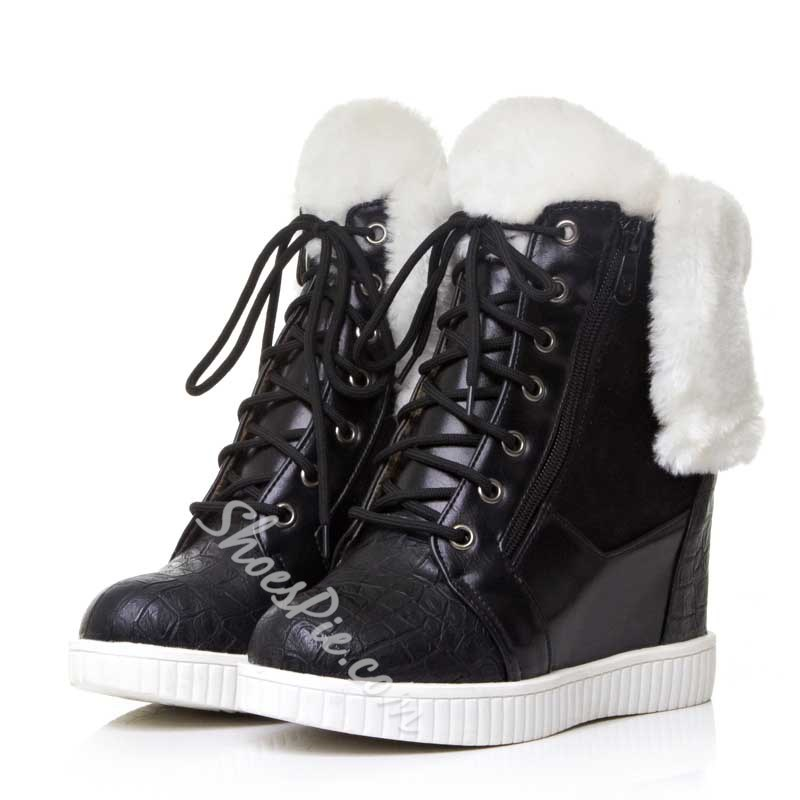 Shoespie White Plush Lace up Wedge Heel Ankle Boots