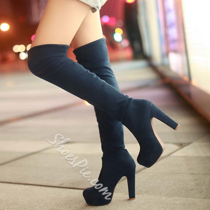 Shoespie Chunky Heel Platform Knee High Boots