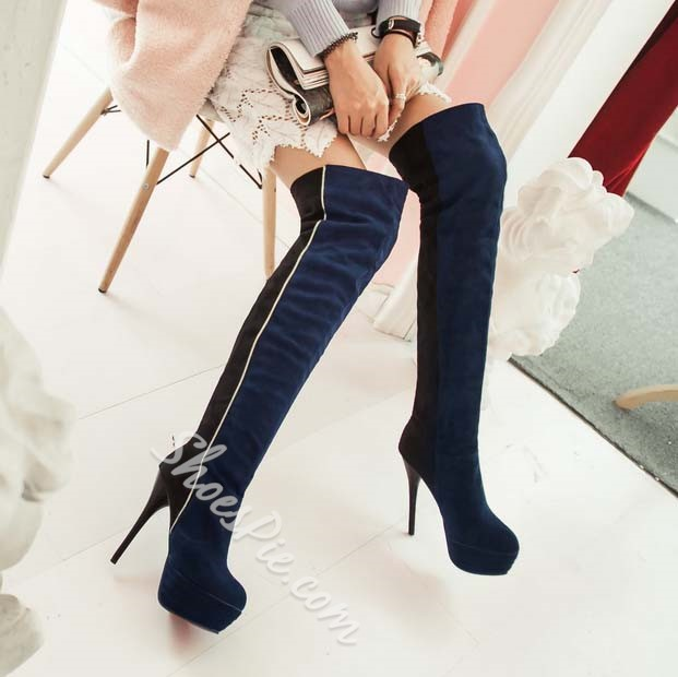 Shoespie Sexy Contrast Color Stiletto Heel Platform Thigh High Boots