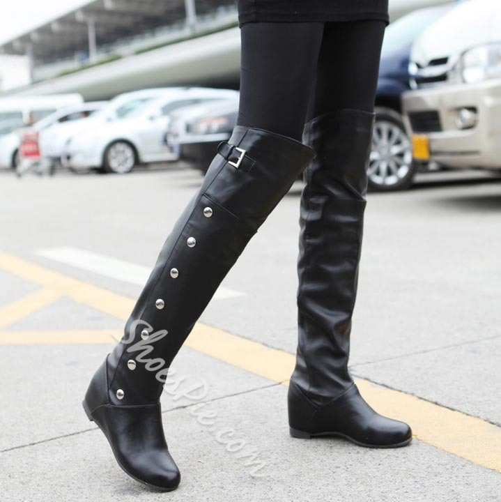 Shoespie Handsome Buckle Decoration Knee High Boots