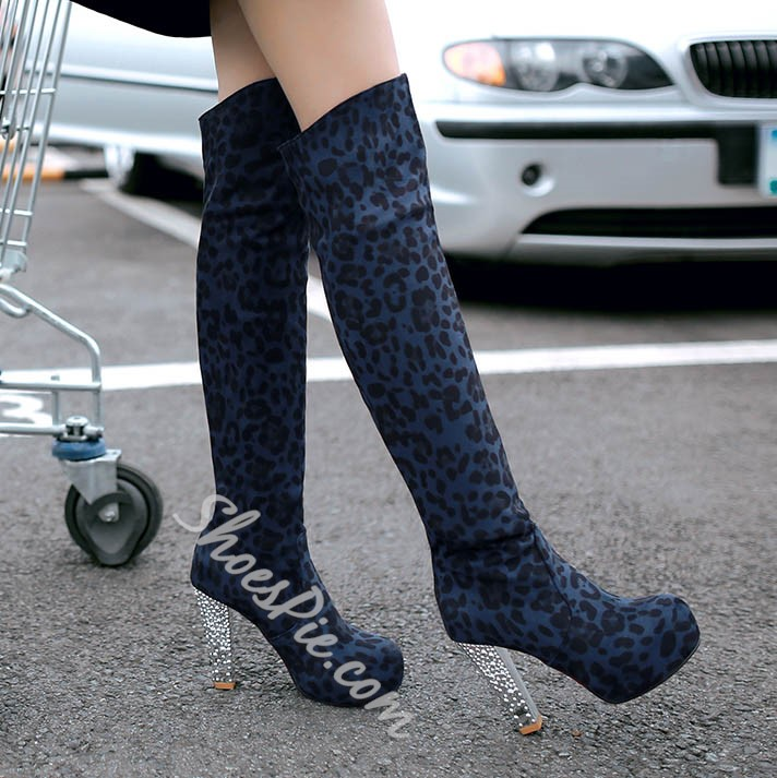 Shoespie Hot Leopard Print Platform Thigh High Boots