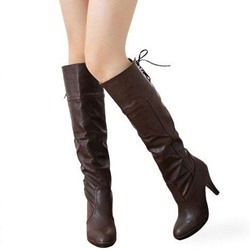 Shoespie Lace-Up BackStiletto Heel Knee High Boots