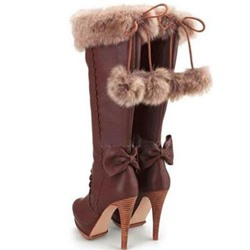 Shoespie Chic Brown Back Bowtie Knee High Boots