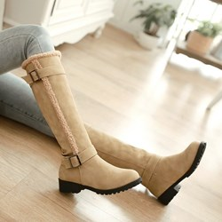 Shoespie Suede Buckles Knee High Boots
