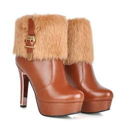Shoespie Furry Buckles Plush Ankle Boots