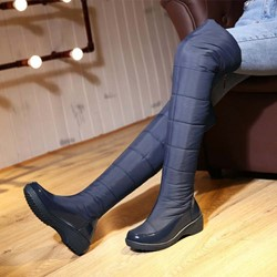 Shoespie Warm Solid Color Thigh High Boots