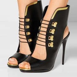 Shoespie Genuine Leather Peep toe Stiletto Heels
