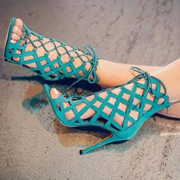 Shoespie Unique Blue Cutout Lace Up Decoration Sandals