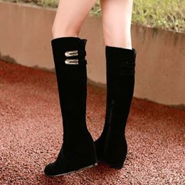 Shoespie Black Color Metal Hidden Wedge Knee High Boots