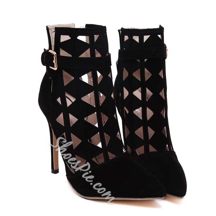 Shoespie Black Cut-out Buckle Pointed Toe Ankle Boots