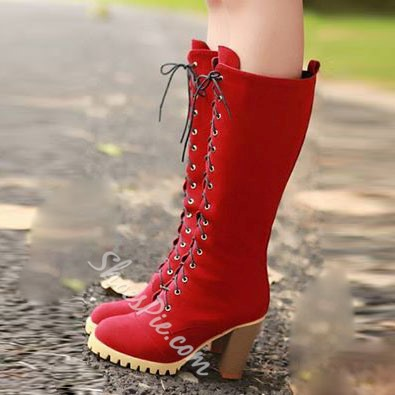 Shoespie Classy Red Lace Up Chunky Heel Knee High Boots
