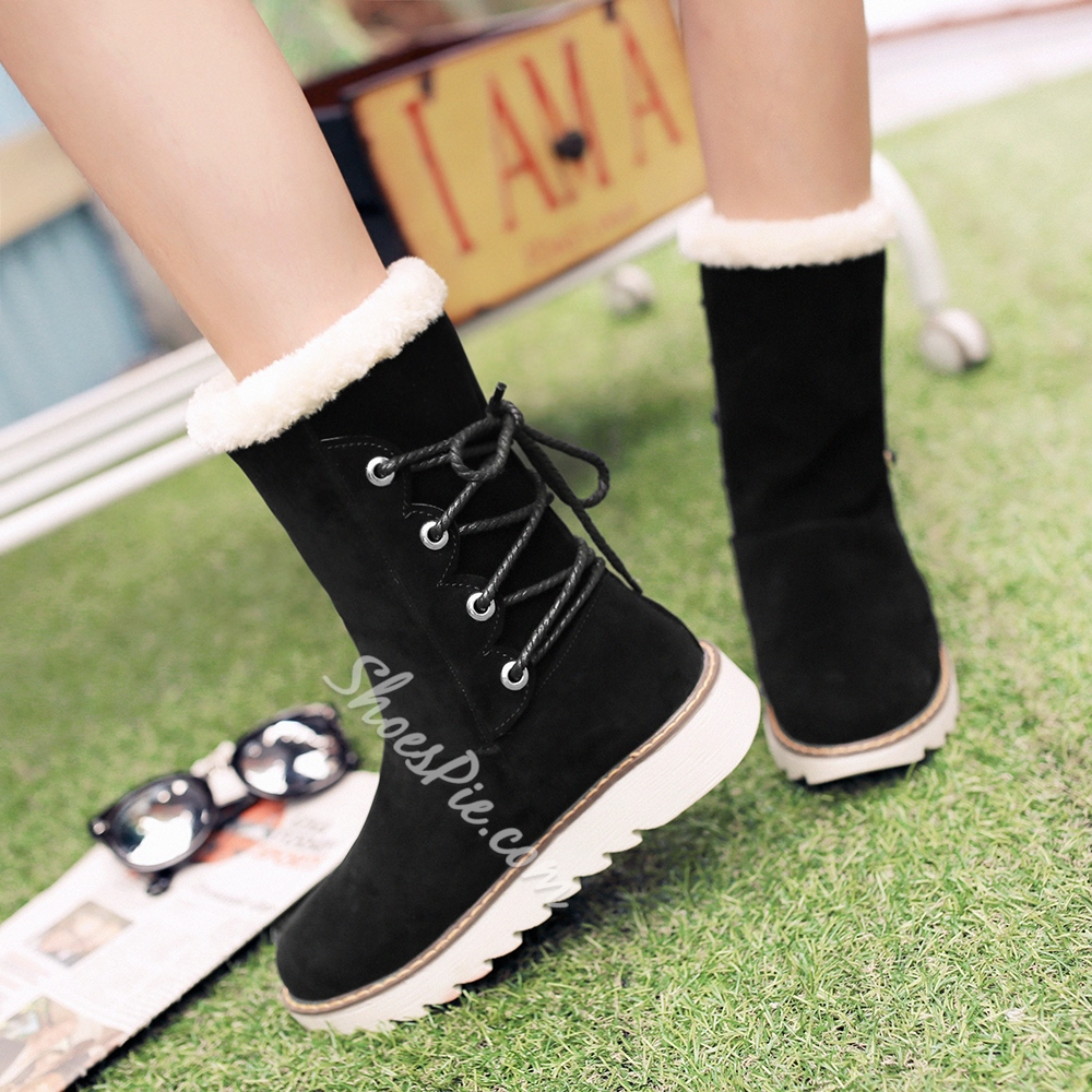 Shoespie Nubuck Side Lace up Snow Boots