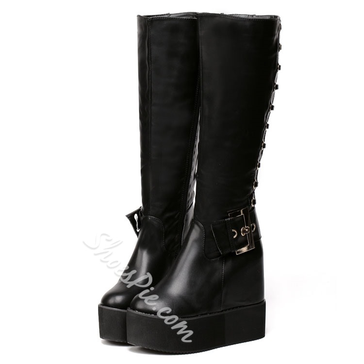 Shoespie Buckles Back Lace up Wedge Boots