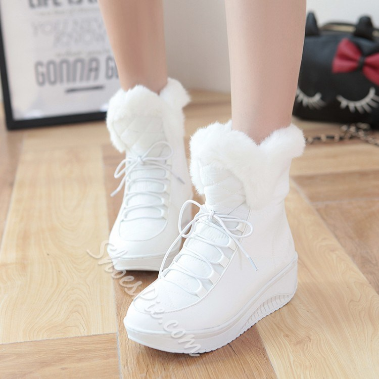 Shoespie Solid Color Hairy Lace up Snow Boots