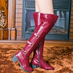 Shoespie Buckles Patchwork Knee High Boots