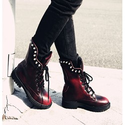 Shoespie Worn Lace-Up Rivets Martin Boots