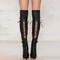 Shoespie Stylish Black Back Lace Up Spike Heel Knee High Boots