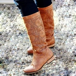 Shoespie Vintage Brown Flat Heel Mid-cuff Boots