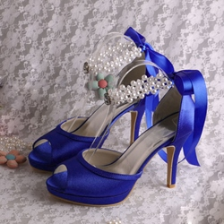 Shoespie Sexy Blue Ribbon Stiletto Heel Peep Toe Lace Up Bridal Shoes